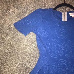 💙NWOT LLR XS Solid Blue Embossed Amelia Dress